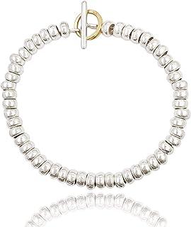 ViMon gioielli, Bracciale Rondelle in argento 925,chiusura anello brisè placcato oro giallo, lunghezza su richiesta