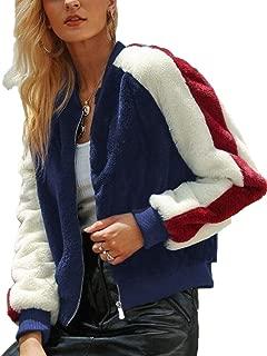 ZhixiaYS Womens Lapel Coat Cashmere Wool Blend Trench Coat Color Block Outerwear Jacket