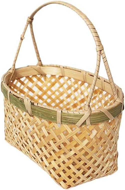 ECSWP 1PC Bamboo Basket Storage Rapid rise Albuquerque Mall Handmade Household Picnic