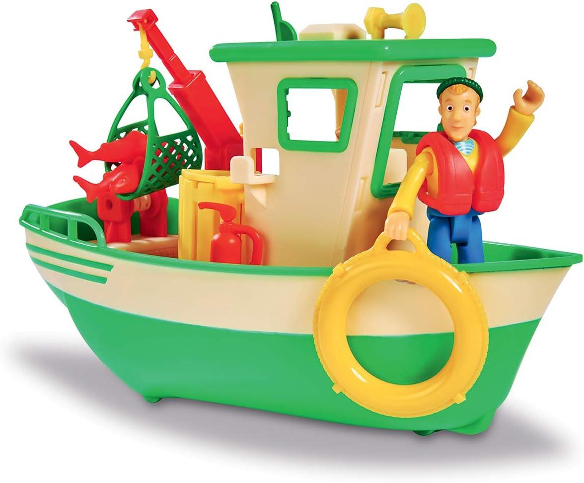 Smoby- Sam Le Pompier-Bateau de Pêche Flottant-Grue Mobile + Treuil Mécanique-1 Figurine Incluse Barco, Color Verde (Simba Toys 7/109251074002)