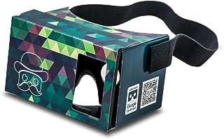 グーグル段ボールPOP! CARDBOARD + FREEヘッドストラップとクッション。 6インチまでのAndroidとiPhone用。レンズ付き3DメガネVRメガネバーチャルリアリティビューアVRゴーグル。