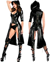 Women Hooded Cape Cloak Costume Cosplay Halloween Costume Punk Gothic Dress Lace up Catsuit Hooded Cape Jumpsuit Stage Pla...