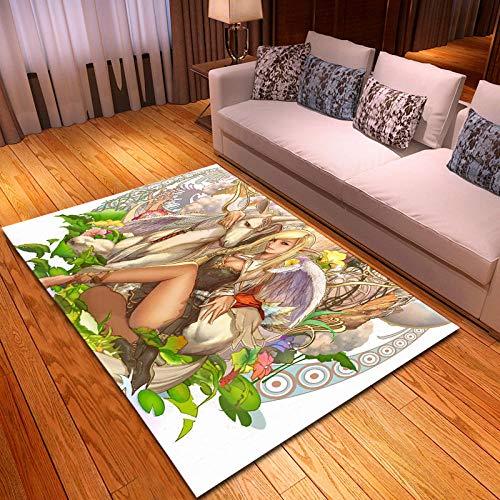 CGZLNL Alfombra de Suelo Elfo de Unicornio de Dibujos Animados Home Alfombra Impreso Fácil de Limpiar Salón Comedor Dormitorio Alfombra de Suelo Tamaño: 160 x 230 cm