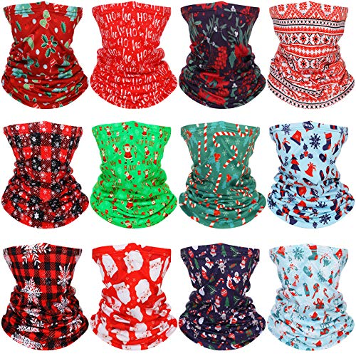 12 Pieces Christmas Neck Gaiter Christmas Face Covering Balaclava Bandana Scarf for Adult Winter Christmas Party Outdoor Activity