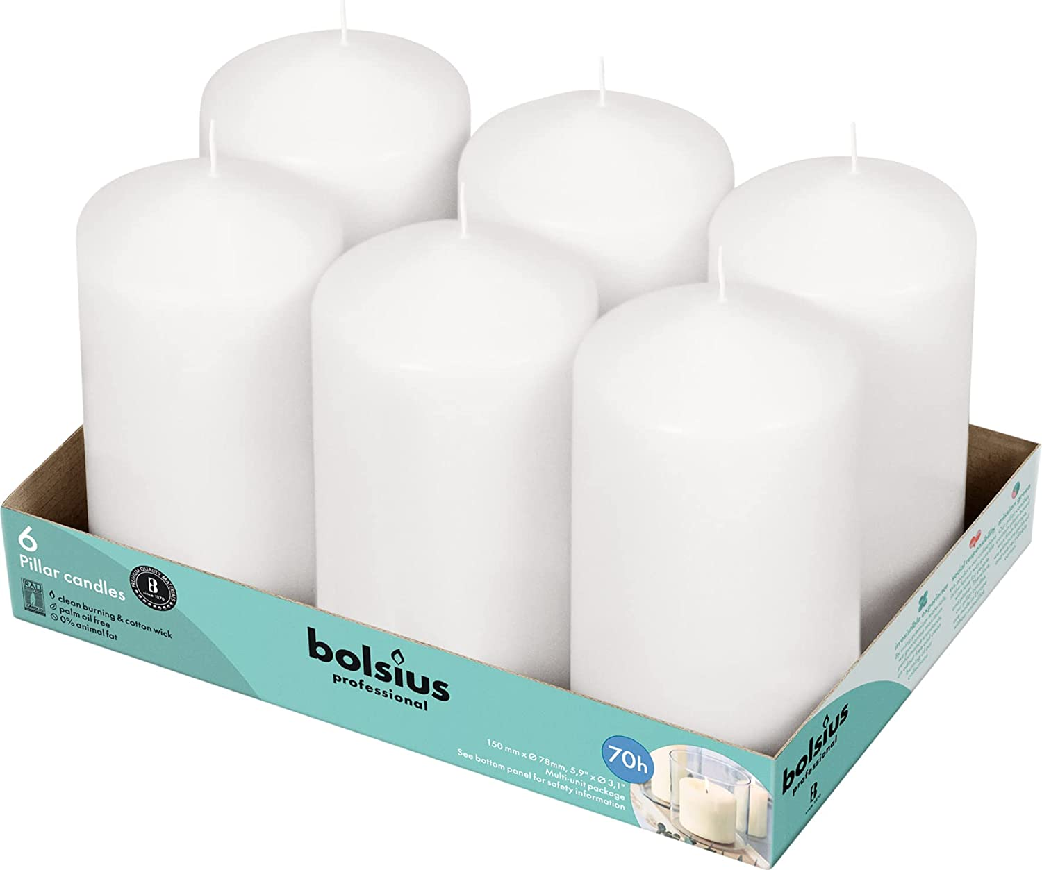 BOLSIUS Set Houston Mall of 6 White Pillar Candles 100% quality warranty! 3x6 Ho - Unscented inch 65