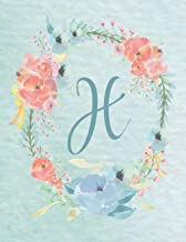 H: 2021-2022 Monthly Calendar - Light Blue & Pink Floral Wreath Design: Pretty, Personalized Monogrammed Light Blue & Pink...