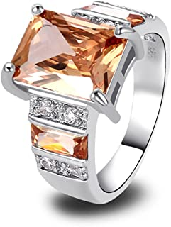 925 Sterling Silver Created Morganite Filled Wide Band Engagement Ring