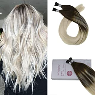 Moresoo 22 Inch Pre Bonded Human Hair Extensions Cold Fusion Hair Extensions Straight #2 Fading to #60 Platinum Blonde Balayage I Tip Extensions Human Hair 0.8g/s 40g/pack