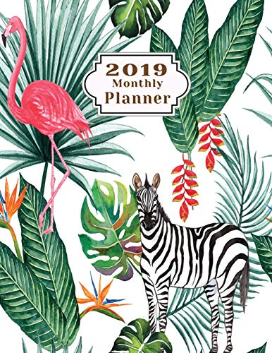 2019 monthly planner: Organizer Schedule Beautiful Lovely Cute pink flamingo zebra watercolor tree pattern background Monthly and Weekly Calendar To do List Top goal and Focus (Planner 2019)