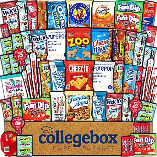 CollegeBox Care Package (60 Count) Snacks Food Cookies Chocolate Bar Chips Candy Variety Gift Box Pack Assortment Basket Bundle Mix Bulk Sampler Treat College Students Exam Office Fathers Day