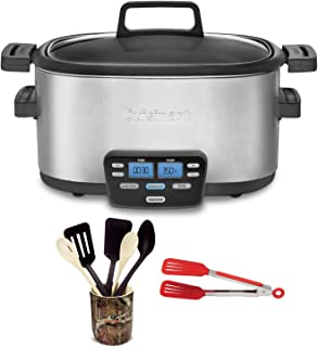 Cuisinart MSC-600 3-In-1 Cook Central 6-Quart Multi-Cooker: Slow Cooker, Brown/Saute, Steamer Includes Flipper Tongs and 6 pc Crock Set (Renewed)