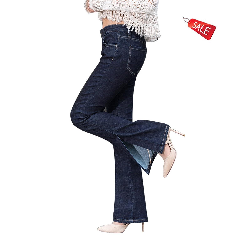 ヨーロッパニュージーンズミドルウエスト春と秋スリムラージサイズサイドフォーク弾性レトロブーツカットパンツ ガールズ (Size : 24)