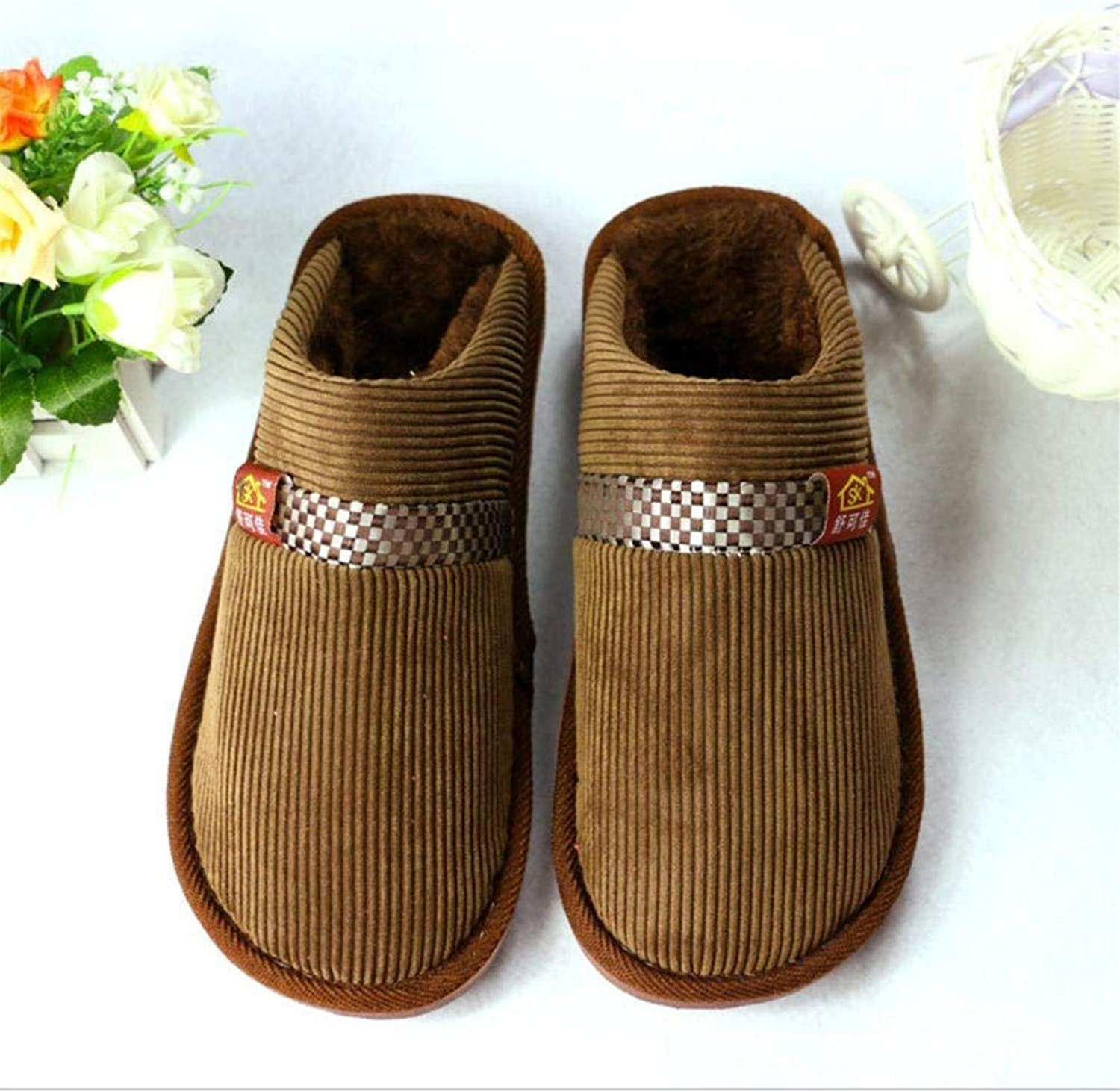 JaHGDU Men's Cotton Slippers Home Warm in Autumn and Winter Cotton Slippers bluee Brown Casual Bedroom Slippers