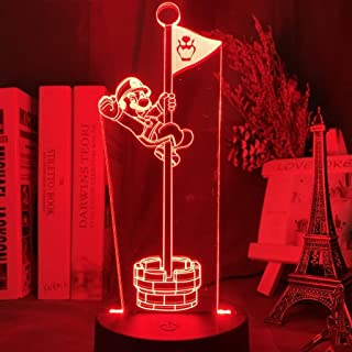 Game Super Mario Bros Flag Led 3D Night Light for Home Decoration Kids Bedroom Nightlight Mario Flagpole Table 3D Lamp Bed...