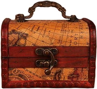 Blancho Vintage Style de bo/îte en bois accessoire de stockage coffre au tr/ésor D