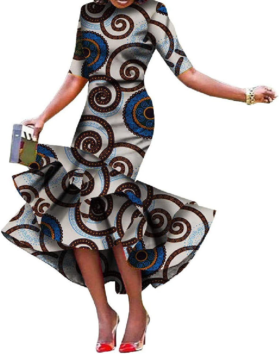 Cobama Womens Fishtail Floral African Print Bodycon Long Short Sleeve Dress