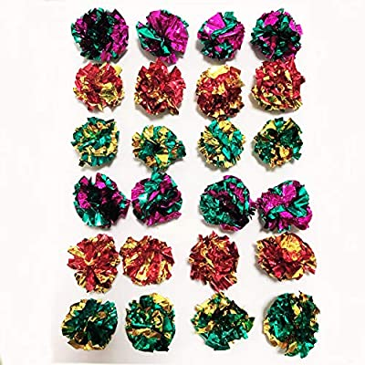 PETFAVORITES Mylar Crinkle Balls Cat Toys Interactive Crinkle Cat Toy Balls Independent Pet Kitten Cat Toys for Fat Cats Kittens Exercise, Soft and 1.5 Inch (24 Pack) by PETFAVORITES