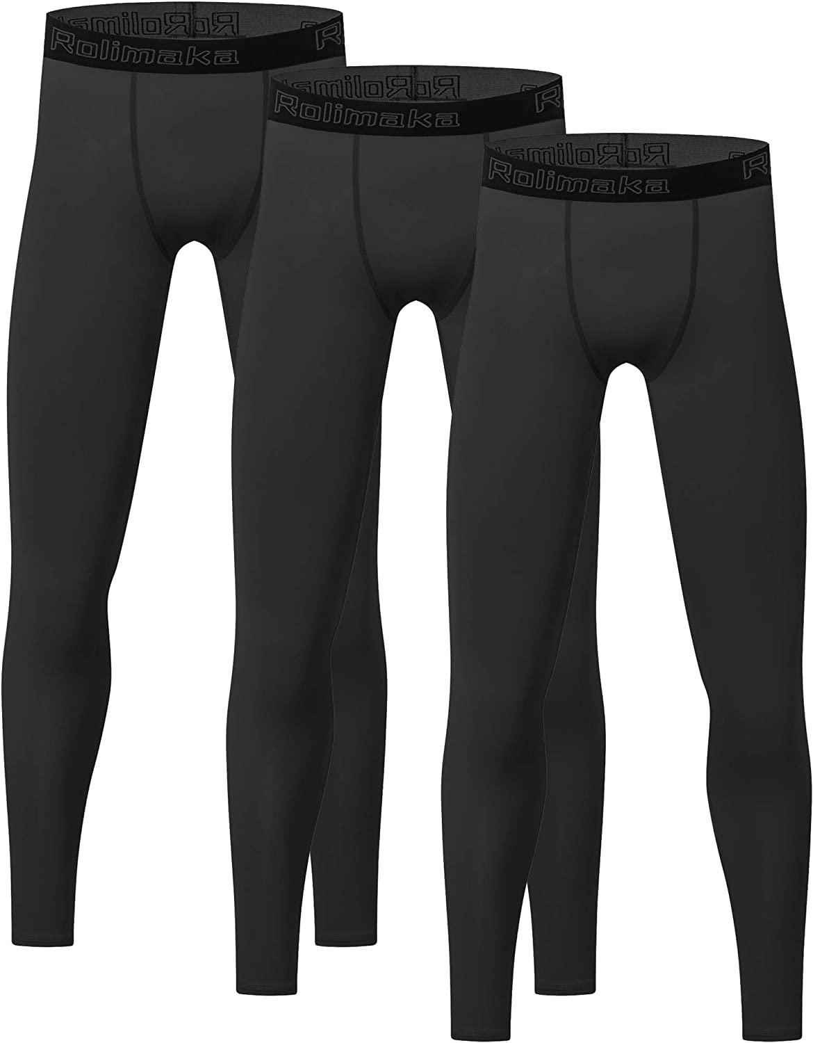 3 Pack Youth Boys' Compression Leggings Tights Athletic Pants Sports Base Layer for Kids Cold Gear