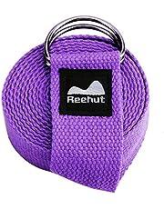 Reehut フィットネス エクササイズ ヨガストラップ (305cm/10フィート) 調節可能なDリング バックル付き ストレッチ 柔軟運動 理学療法用 (パープル)