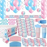 Gender Reveal Party Supplies for 24 - Two Size Plates + Cups + Napkins...