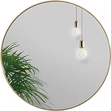 Round Mirror Wall Hanging Makeup Mirror Gold Aluminum Frame, Wall Hanging Mirror Bedroom Bathroom Living Room Entrance Van...