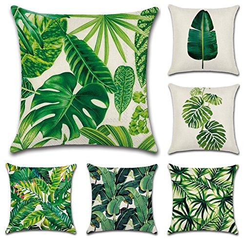 JOTOM Fundas de cojín de Lino de algodón Suave sofá Funda De Almohada del Coche decoración de la Cama en casa 45 x 45 cm, Juego de 6 (Hoja Verde)