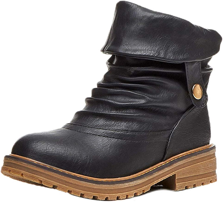 FANIMILA Women Chunky Heel Boots Round Toe Vintage Roman Boots Autumn Slip On Slouch Boots Gladiator Short Boots