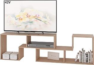 DEVAISE テレビ台 ローボード AVボード テレビボード 伸縮自由 コーナー調節 ロータイプ 26~65Vまで対応 オーペンラック 耐荷重25kg 幅110~220×奥行29×高さ52.8cm ディスプレイラック 2点セット おしゃれ オーク