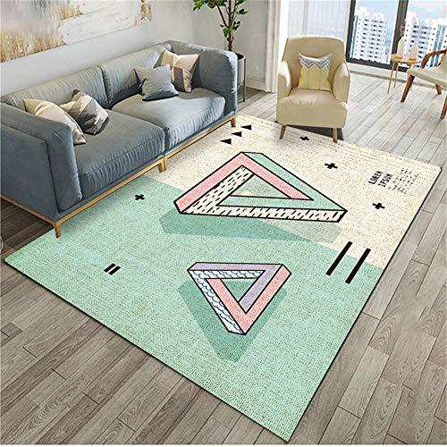 WQ-BBB Habitacións Alfombraes Absorbente Diseño de combinación de Colores de Dibujos Animados Estilo geométrico Blanco Rosa Verde Claro Alfombra Salon 200X300cm