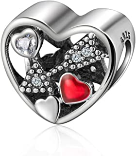 925 Sterling Silver Cupid's Arrow Pierces The Heart Charm Bead Fit Bracelet Necklace