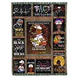 Personalized Name Proud Black Nurse Rock Matter Fleece Sherpa Throw Blanket Birthday Christmas Nursing Afro American African Africa Gifts for Registered Nurses Mom Wife Daughter