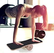 Unbran US Warehouse Balance Board Trainer with Anti-Slip Strips Wooden Balance Tool for Fun Fitness Wood Balance Board for Surf Skate Snowboard Training