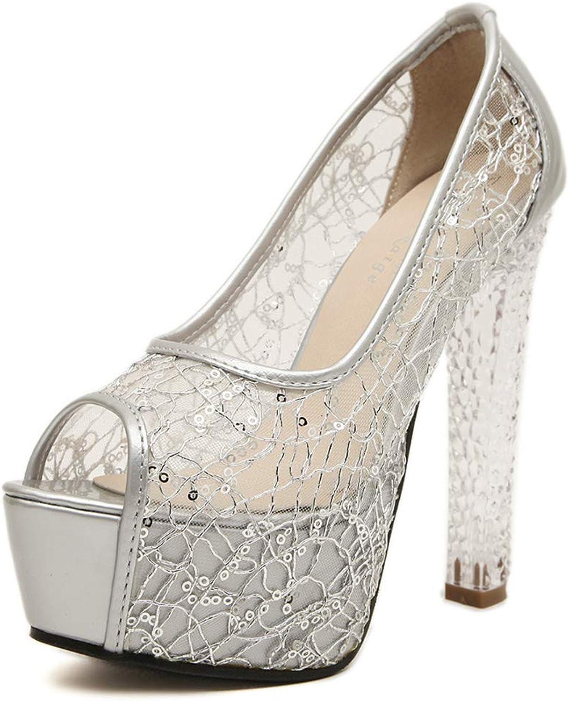 MAOMEI Sexy High Heels, Mesh Crystal Heels, Dicke High Heels Damen Sandalen, Hochzeitsschuhe, 13,5 cm Silber EU39