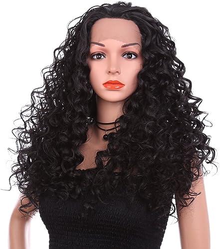 24 Zoll Natürliches Haar Perücken Für Frauen, 1b Lange Lockly Haarspitze Front Wig Synthetische HitzeBeste ige Faser, Cosplay-tages Party Für Frauen Echte Haare + Freie Wig-kappe