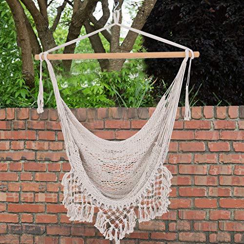 Fabric Swing Seat, Hammock Seat, Suitable for Indoor and Outdoor, Bedroom, Terrace, Yard Garden Theme Decoration, Home Decoration (Beige)