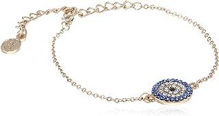 Estele Golden 24 Kt Rose Gold Plated Non-Precious Metal Brass Evil Eye Coin Link Bracelet for Women