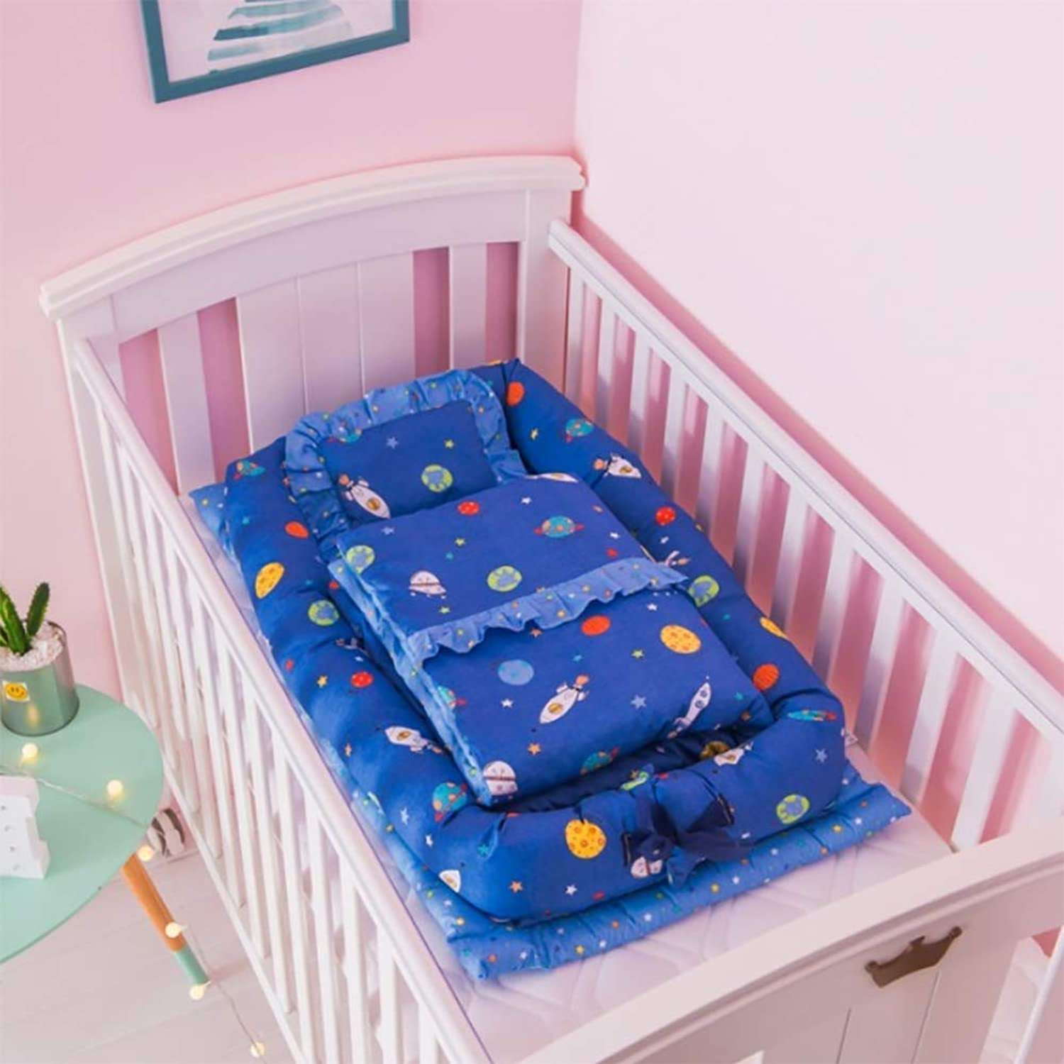 Crib Cotton Portable Washable Baby Isolation Bed Newborn Bionic Bed Baby for 0-24 Months (with Quilt),H