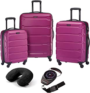 Omni Hardside Luggage Nested Spinner Set (20 Inch, 24 Inch, 28 Inch) - Caribbean Blue Bundle with Microbead Neck Pillow with Travel Pouch and Manual Luggage Scale (Pink)