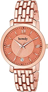 638f70d70a1f3 howdy Analogue Rose Gold Dial Stainless Steel and Date Women's Watch