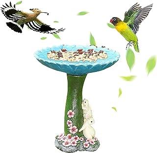 badewanne Resin Bird Bath Bowl Outdoor Bird Feeders Resin Pedestal Fountain Decoration for Yard Garden Planter Base Feeder...