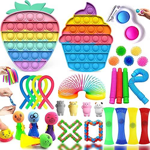 Fidget Toy Pack, 32 Piezas Fidget Toy Pack Barato, Juguetes Niños para Antiestres Adultos y Niños, Pack Fidget Toys Incluye Popits para Regalos para Niños, Recompensas En El Aula De La Escuela etc.