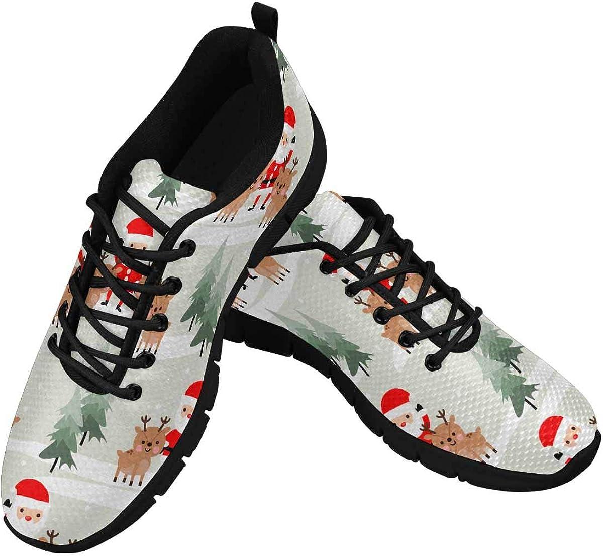 InterestPrint Cute Christmas Santa Claus and Reindeer Women's Athletic Walking Shoes Breathe Comfort Mesh