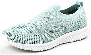 أحذية رياضية خفيفة الوزن للنساء من Akk - أحذية رياضية من الإسفنج الذكي سهلة الارتداء باللون الأزرق