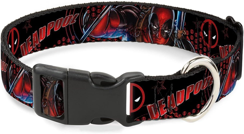 BuckleDown PCWDP014M Dog Collar Plastic Clip Buckle, 1 x1117 , Deadpool Action Pose Logo2