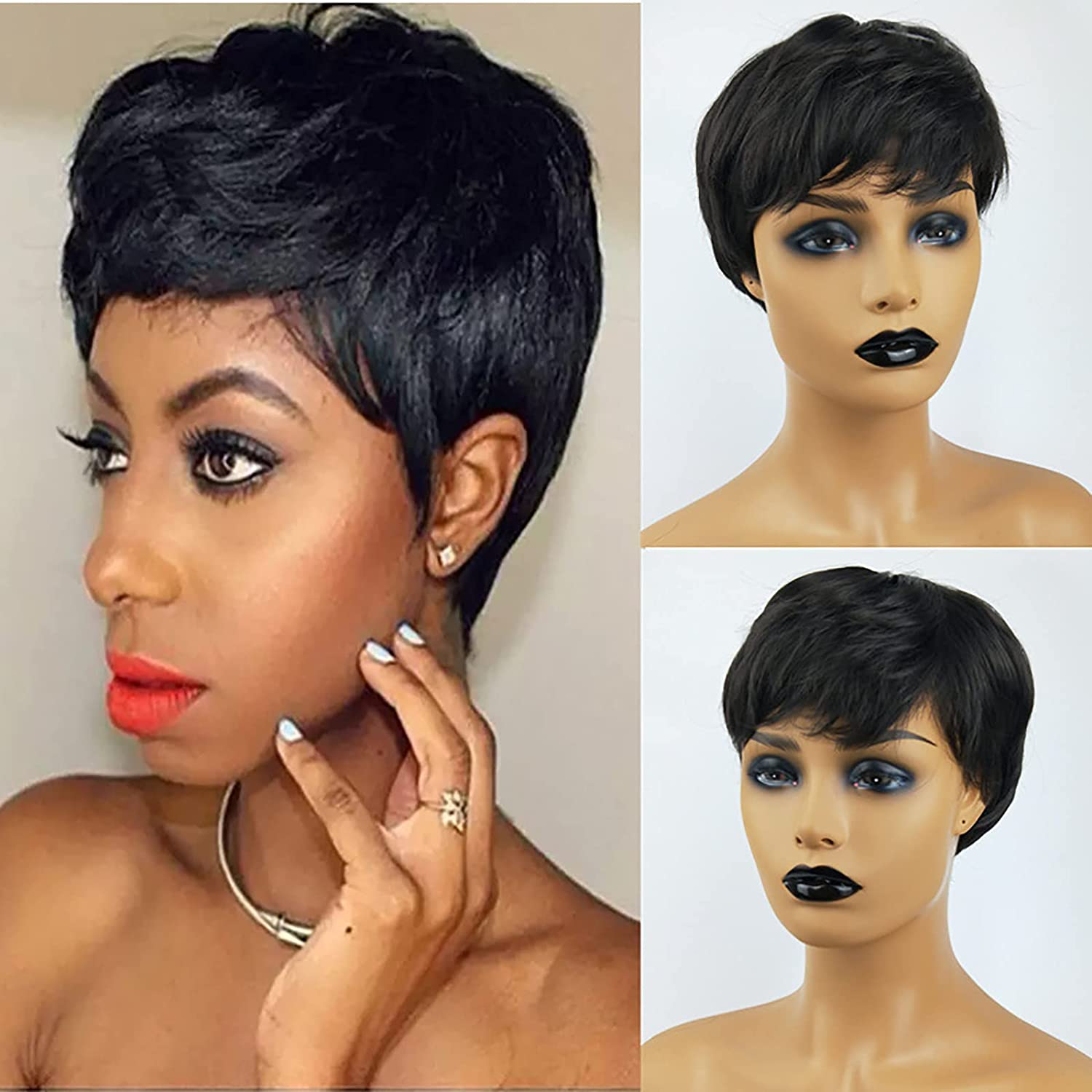 Black Wig Short Pixie Great interest Cut Hair for Women Wigs Portland Mall Natural Synthetic