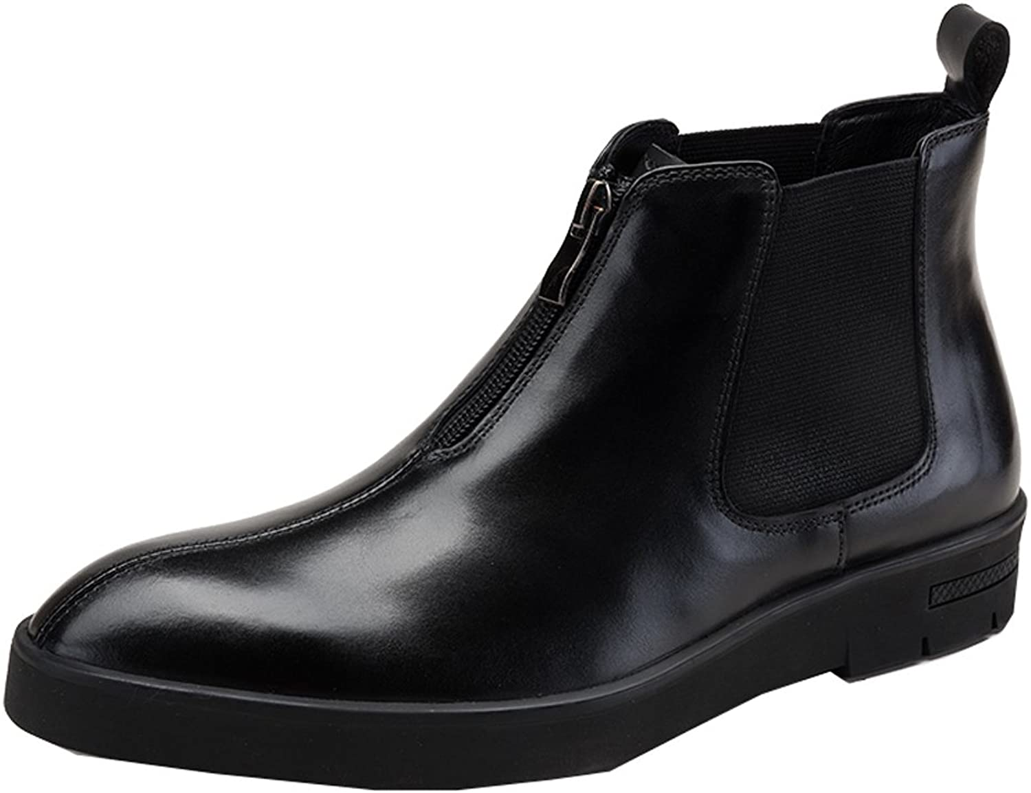 MedzRE Men's Cow Leather Winter Chelsea Boots with Zip Detail