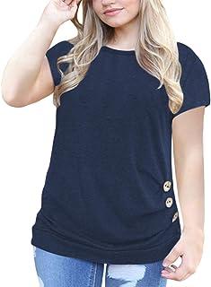fd8d146851 VISLILY Women s Plus Size Casual Short Sleeve Buttons.