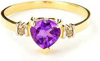 14k Gold Ring with Genuine Diamonds and Natural Heart-shaped Purple Amethyst