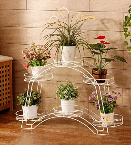 ZENGAI Arched Tray Balcon Double Flower Pot Rack Salon Plancher de style européen Plateau Plate/Potted Frame