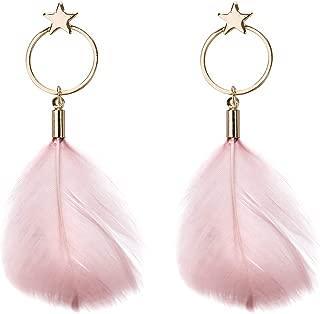 Women Earrings Feather Natural Lightweight Earrings Drop Dangle Earrings